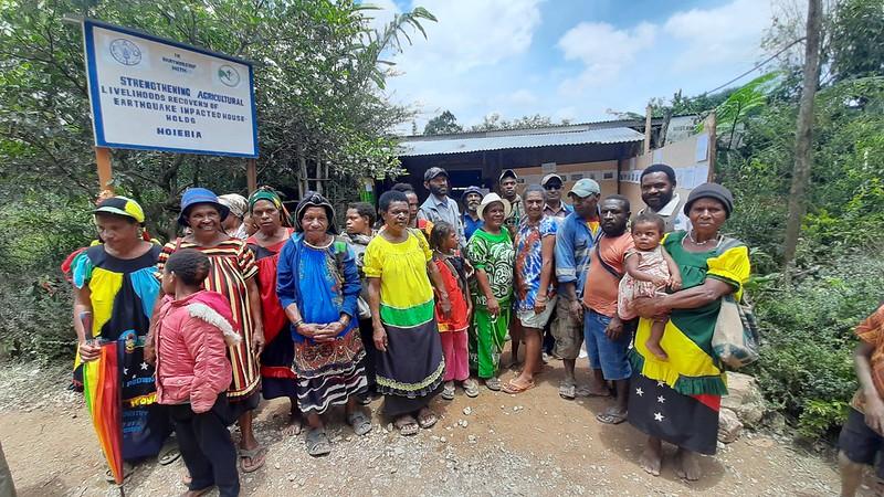 Women in Hela Province outside NGO building